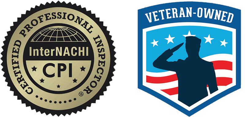 InterNACHI Certified Professional Inspector CPI logo and Veteran Owned logo